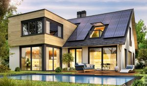 Modern house with solar panels and pool