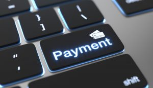 Payment text on keyboard button. Online payment concept.