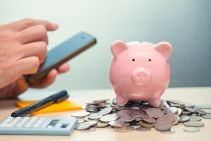 Saving Money with Smartphone Apps for Internet Mobile Banking concept