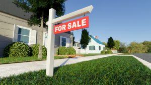 Real estate sign in front of a house for sale in a nice suburban neighborhood. Digital 3D render.
